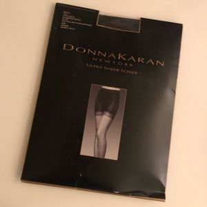 NEW Donna Karan Black Ultra Sheer Toner Stockings